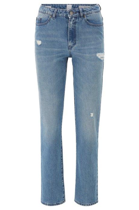Regular-fit jeans in blue distressed stretch denim, Blue