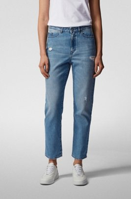 Regular-fit jeans in blue distressed stretch denim, Blue