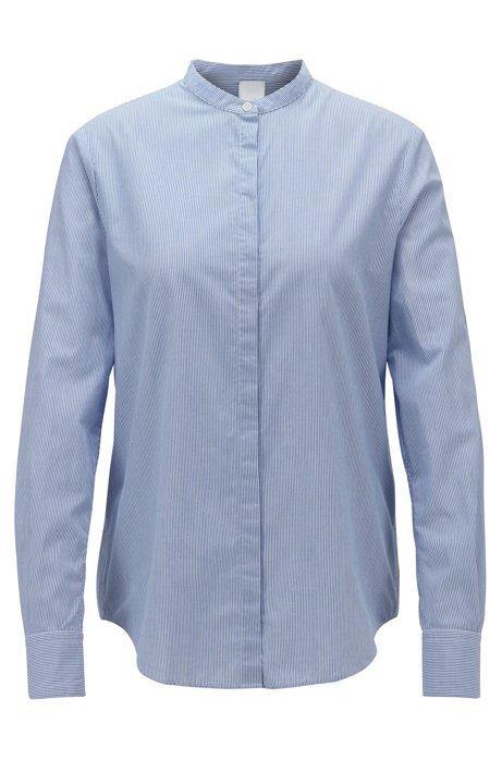 Camicetta relaxed fit in cotone a righe con colletto rialzato, Blu