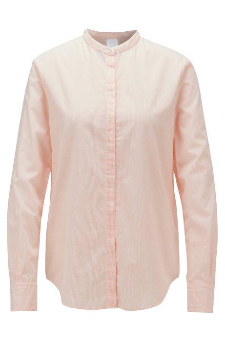 Camicetta relaxed fit in cotone a righe con colletto rialzato, Arancio chiaro