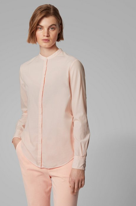 Relaxed-fit blouse in striped cotton with stand collar, Light Orange