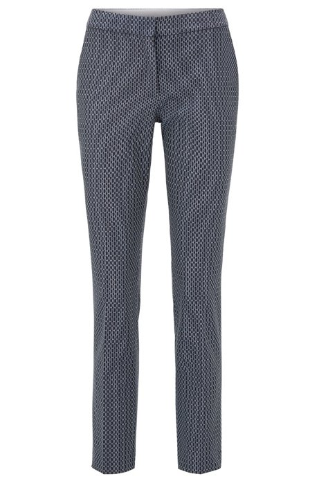 Regular-fit trousers with jacquard-woven monogram motif, Patterned