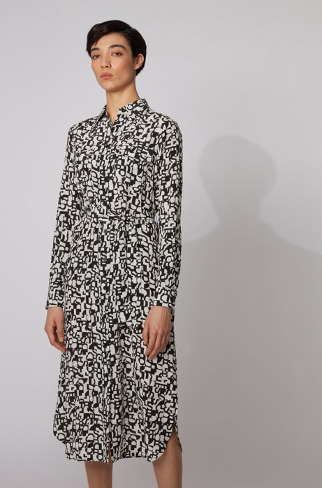 Long-sleeved shirt dress in printed silk, Patterned
