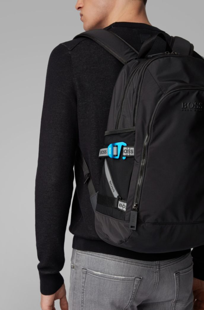 Structured-nylon backpack with logo straps