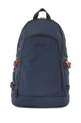 Rucksack aus strukturiertem Nylon mit Logo-Riemen, Dunkelblau