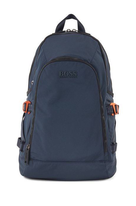 Structured-nylon backpack with logo straps, Dark Blue
