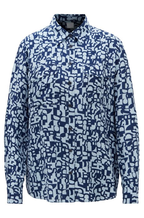 Regular-fit blouse in silk with deconstructed logo print, Patterned
