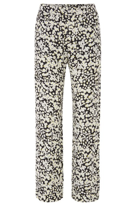 Wide-leg jogging trousers in floral-print fabric, Patterned