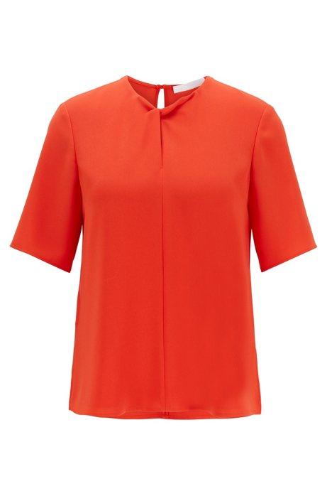 Top regular fit de sarga con detalle en torsión, Naranja