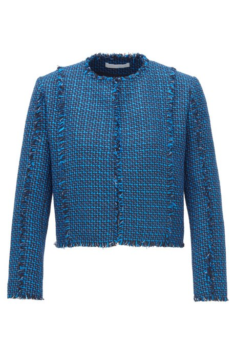 Regular-Fit Blazer aus zweifarbigem Tweed, Gemustert