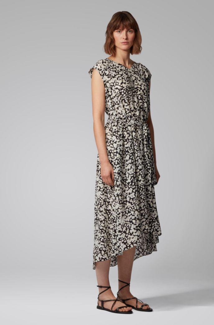 Midi-jurk met bloemenprint en gedraaide ceintuur