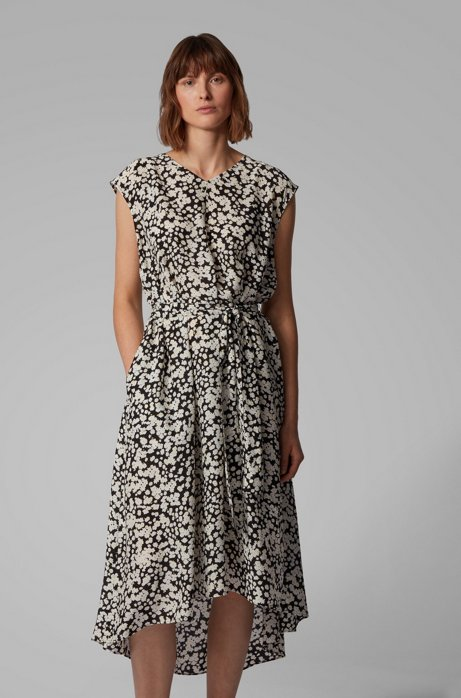 Floral-print midi dress with twisted belt, Patterned