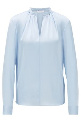 Crepe-de-Chine blouse with stand collar, Light Blue