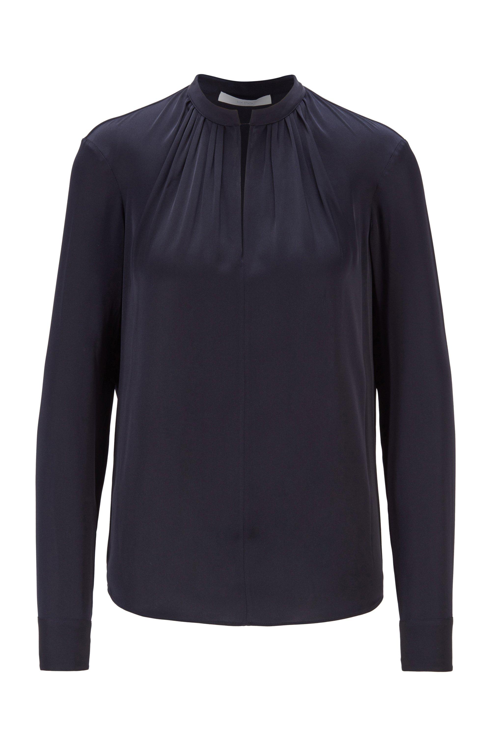 Blusa de crepé de China con cuello mao, Azul oscuro