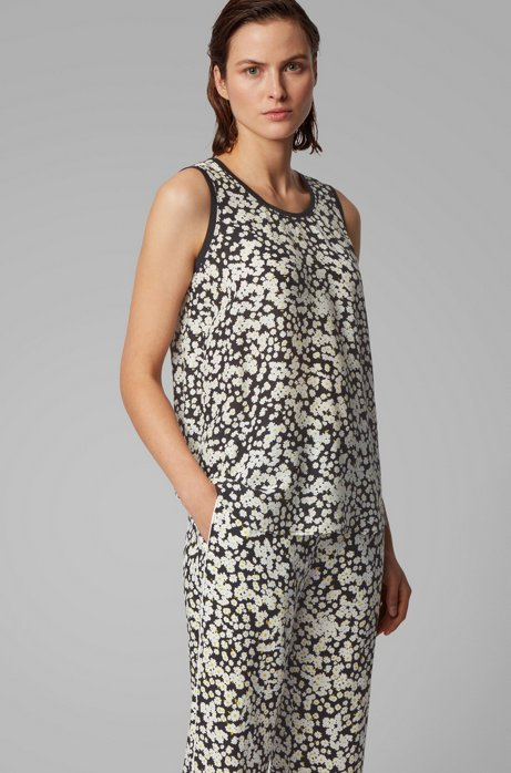 Regular-fit top in printed floral with knitted edges, Patterned