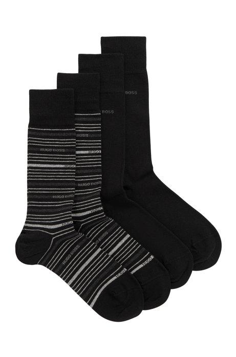 Zweier-Pack gekämmte, mittelhohe Socken, Schwarz