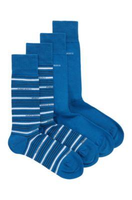 Calze ad altezza regolare con finitura pettinata in confezione da due, Blu