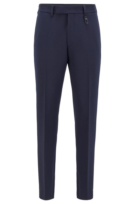 Fashion Show slim-fit trousers with zipped hems, Dark Blue