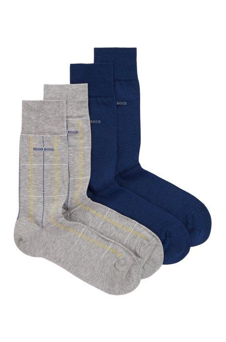 Set van twee paar gemerceriseerde sokken met normale lengte, Grijs