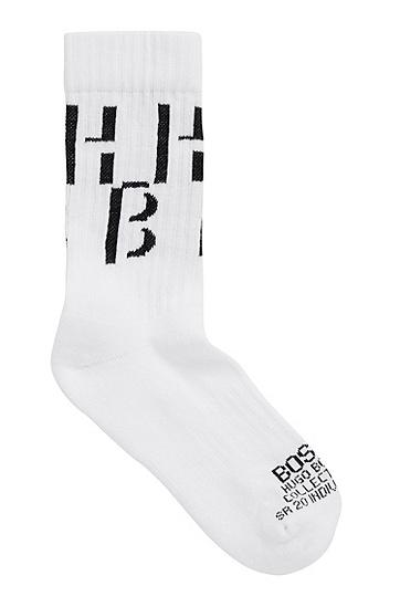 男士徽标细节绒底短袜,  100_白色