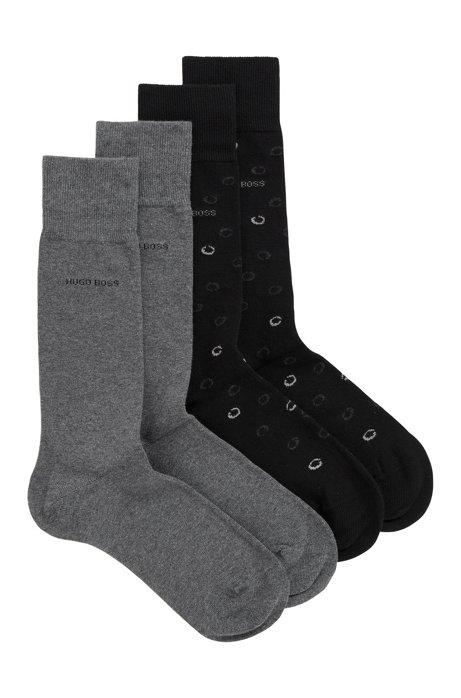 Lot de deux paires de chaussettes, en coton mélangé, Noir