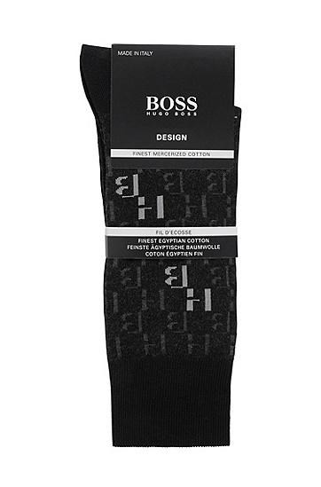 男士丝光棉混纺材质交织字母图案中长袜,  001_黑色