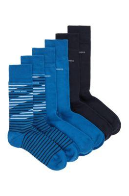 Set van drie paar sokken met normale lengte, in een cadeaubox, Blauw