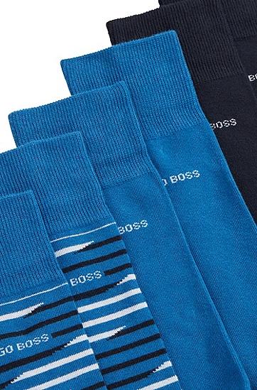 男士中长袜三双礼盒装,  426_中蓝色