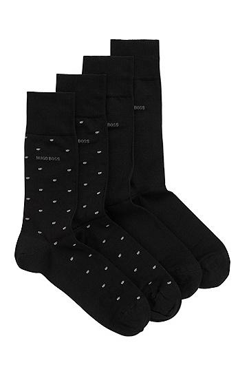 男士丝光面料中长袜两双装,  001_黑色