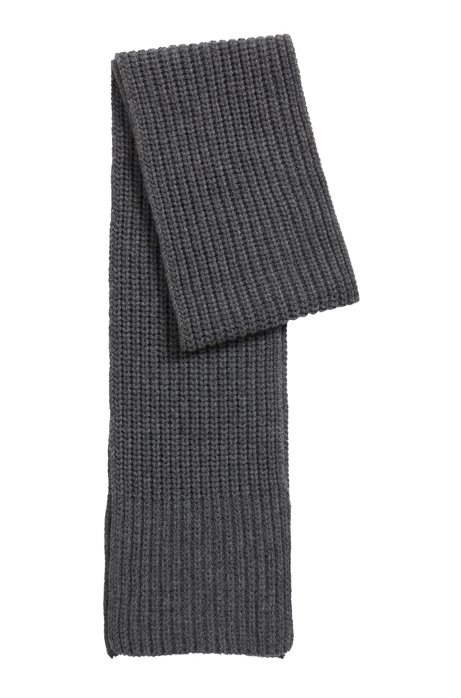 Fashion Show scarf in cardigan-stitched cashmere, Grey