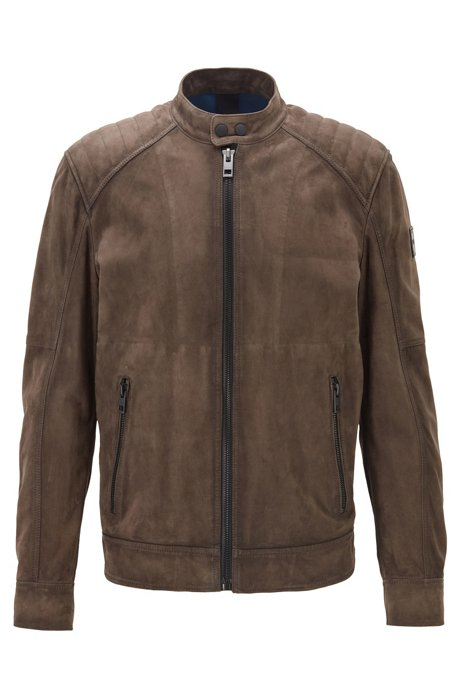 Slim-fit jacket in goat suede with quilted shoulders, Brown