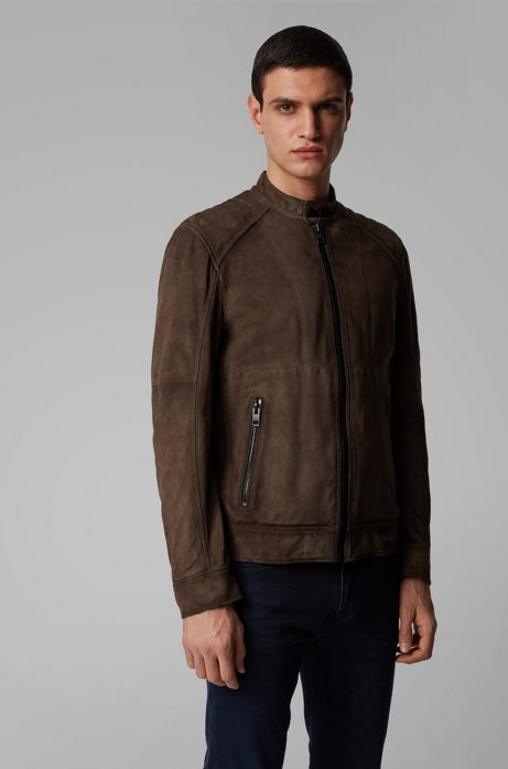 Slim-Fit Jacke aus Veloursleder mit gesteppten Schultern, Braun
