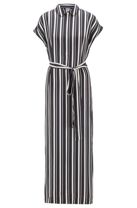 Robe caftan à encolure zippée en twill à rayures, Noir