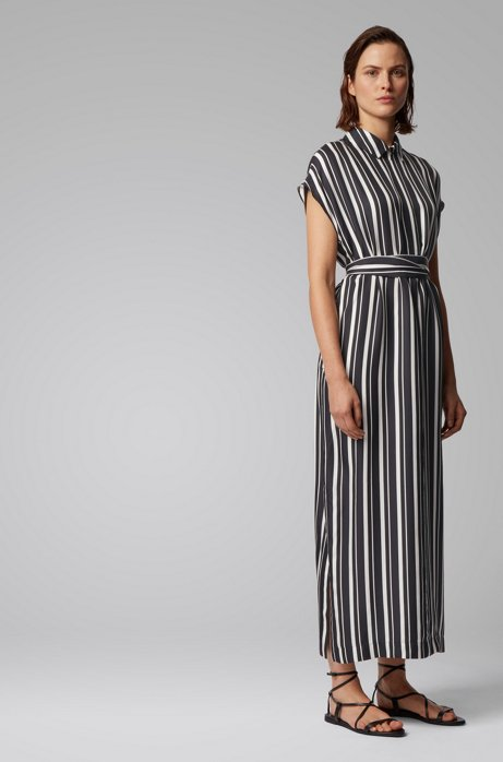 Zip-neck kaftan dress in striped twill, Black