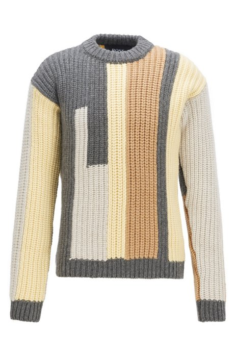 Cashmere sweater with block-stripe intarsia, Grey
