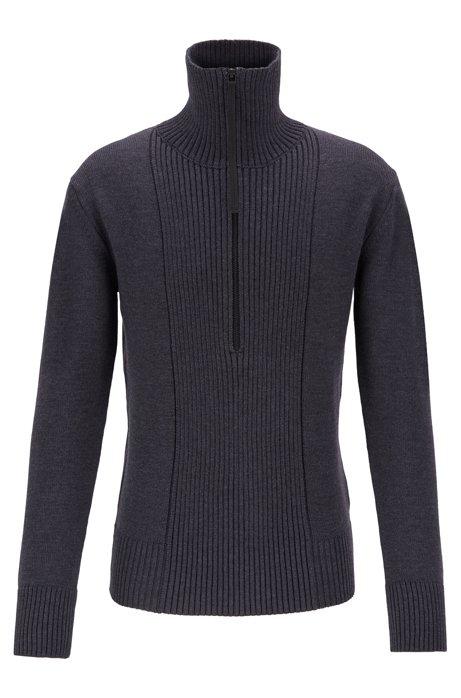Zip-neck sweater in merino wool with structured front, Dark Grey