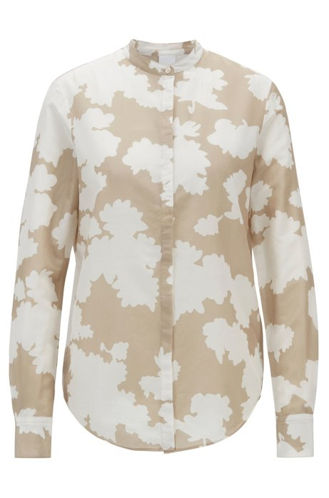Relaxed-fit printed blouse in cotton with silk, Patterned