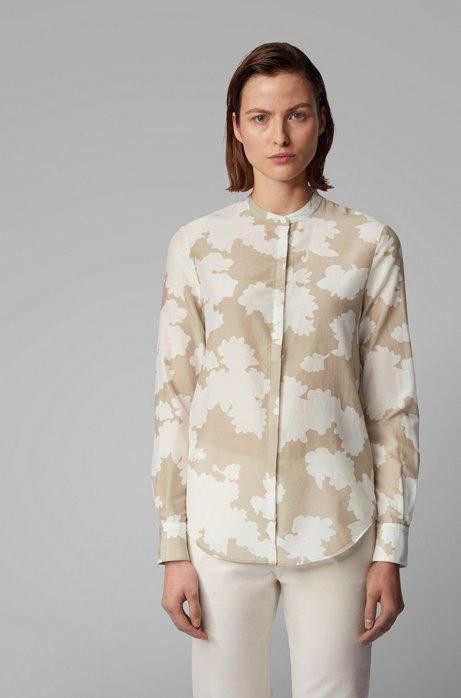 Regular-fit blouse met print van katoen met zijde, Bedrukt
