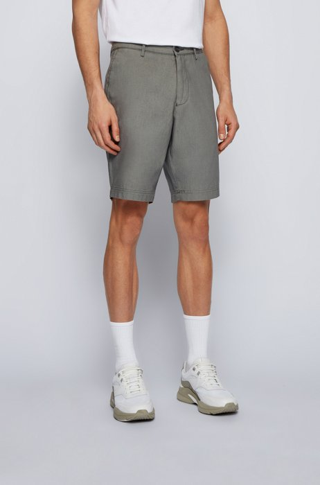 Slim-fit shorts in cotton-blend jacquard, Grey