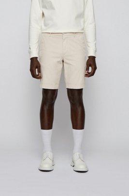 Shorts slim fit de jacquard de mezcla de algodón, Blanco