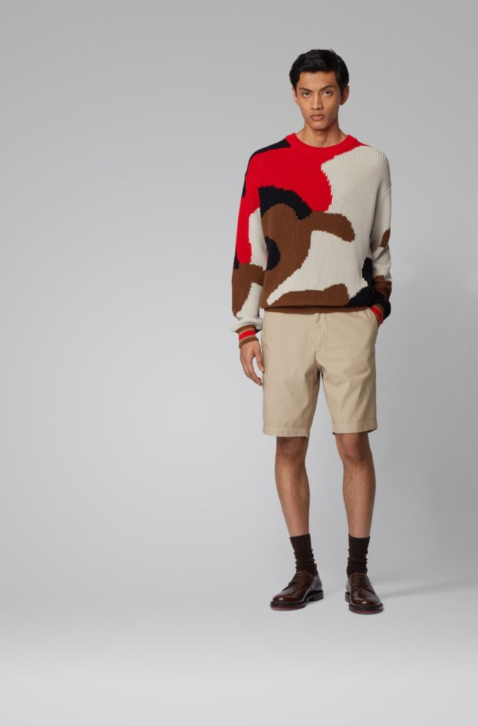 Shorts slim fit de jacquard de mezcla de algodón