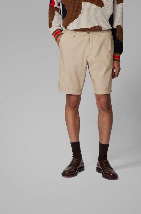 Shorts slim fit de jacquard de mezcla de algodón, Marrón claro