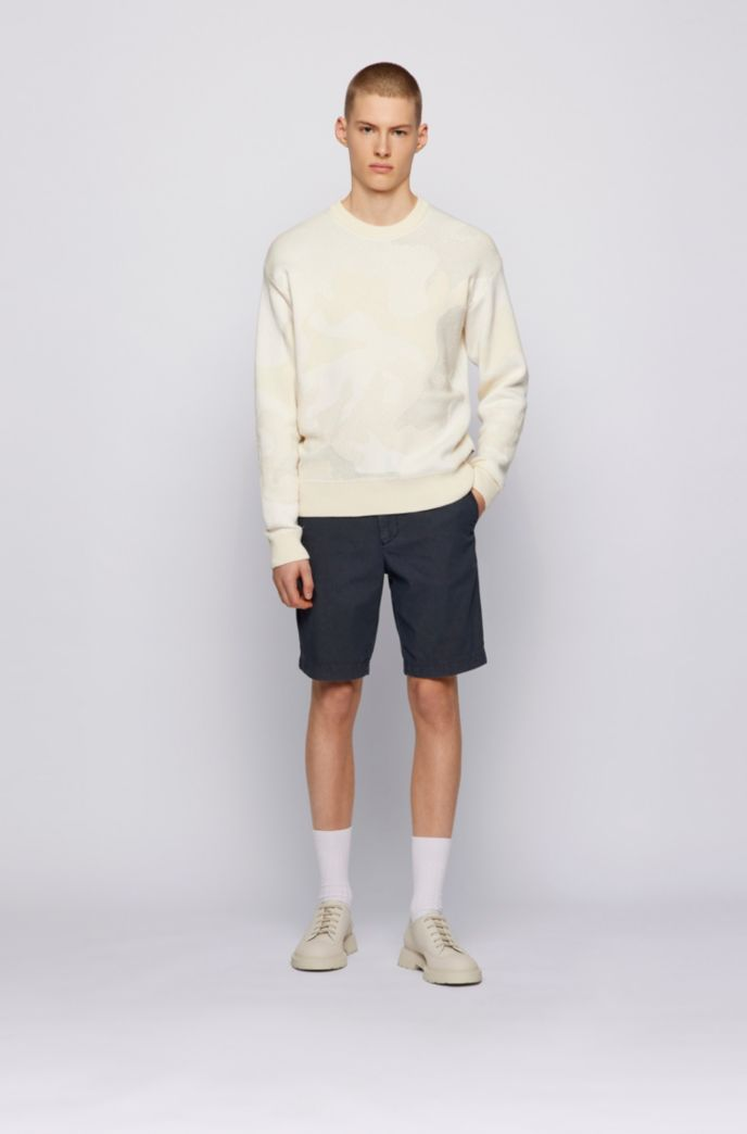 Slim-Fit Shorts aus elastischem Baumwoll-Mix mit Jacquard-Struktur