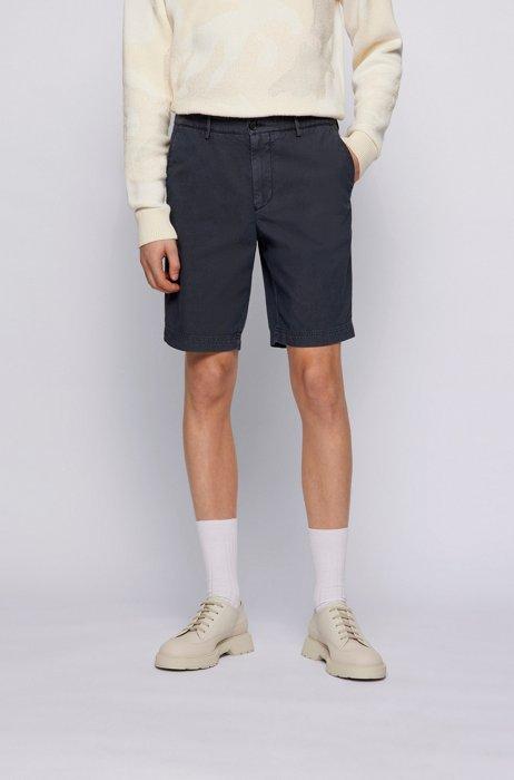 Slim-fit shorts in cotton-blend jacquard, Dark Blue