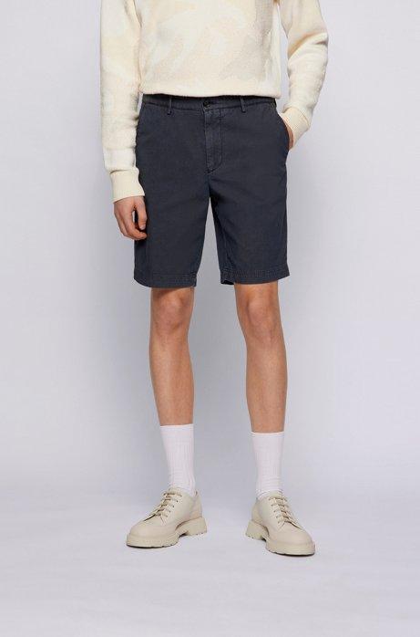 Slim-Fit Shorts aus elastischem Baumwoll-Mix mit Jacquard-Struktur, Dunkelblau