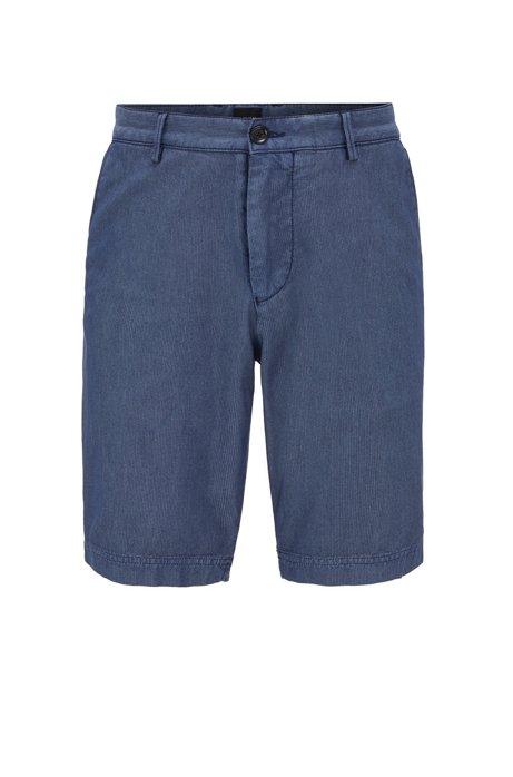 Slim-fit short in jacquardgeweven katoenmix, Donkerblauw