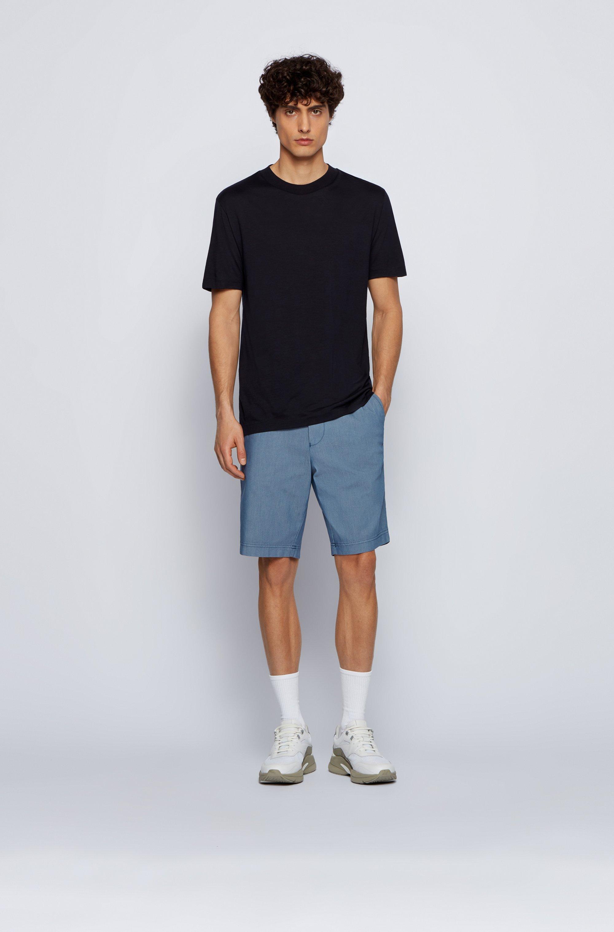 Slim-fit shorts in cotton-blend jacquard