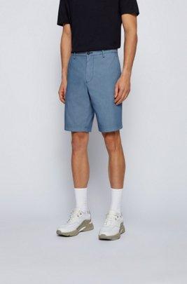 Slim-fit shorts in cotton-blend jacquard, Light Blue