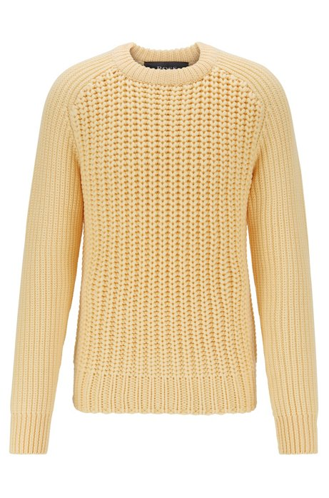 Cardigan-stitch sweater in merino wool, Light Yellow