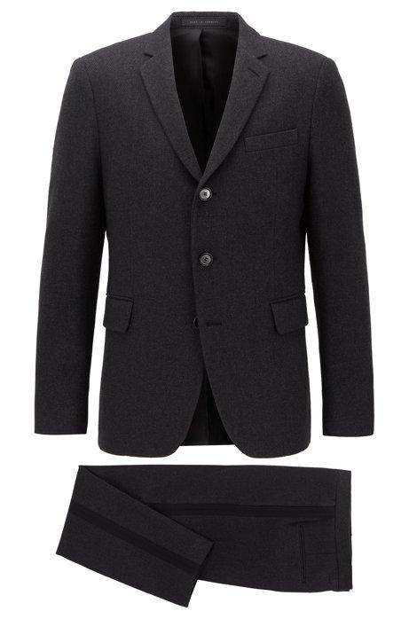 Costume Slim Fit à boutonnage droit en tissu italien, Gris sombre